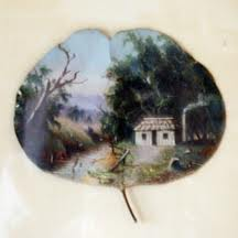 One of Alfred Eustace's leaf paintings