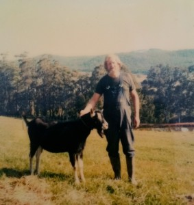 Ken on the farm with the leader of our goat herd